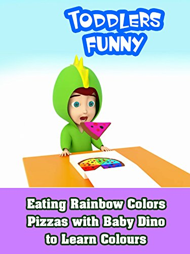 Eating Rainbow Colors Pizzas with Baby Dino to Learn Colours