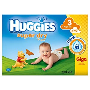 Huggies Super Dry Size 3 (9-20 lbs/4-9 kg) Nappies - Pack of 192