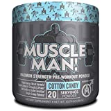 Muscle Man - The All-In-One Pre Workout Muscle Builder, Clinically Dosed Preworkout & Nitric Oxide Booster with Hydromax & Alpha GPC for More Focus/Energy, Power and Results, Cotton Candy, 20 Serving