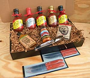 Arthur Bryants Barbecue Sauce Premium Gourmet Box Set Includes 5 Bottles Of Sauces Kc Seasoning Rub Honey Cayenne Hot Sauce Hot Spicy Popcorn Stainless Steel Tongs 4 Premium Wood-handled Steak Knives by Arthur Bryants, Gates, & Pain is Good