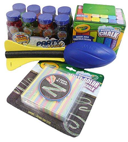 Fun In The Sun Bundle - 4 Items - Crayola 24 Pack Washable Sidewalk Chalk, 8Pk Super Miracle Bubbles (4 Fl. Oz. Each), Crayola 5Pk Washable Multi-Color Sidewalk Chalk, One Air Foam Mega Rocket Ball