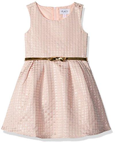 The Children's Place Girls' Big Girls' Strapless Jacquard Dress, Pink, 14