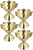 Set of 4 - RoyaltyLane Handmade Indian Brass Oil Diwali Lamp - Diya Lamp Engraved Design 2.5 x 2.5 x 2.5 Inch