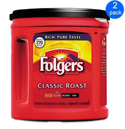 Folgers Coffee Classic Roast 2-pack; 33.9 Oz Each.