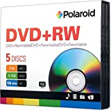 Polaroid PRDVDPRW05J DVD+RW 4.7GB 120-Minute 4x Rewritable DVD Disc, 5-Pack Slim Case