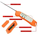 ENROSE Cooking Thermometer Digital BBQ Meat Thermometer Accurate Easy-To-Use Instant Read Digital Thermometer (Orange)