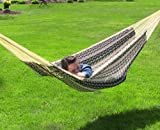 Sunnydaze XXL Thick Cord Black and Natural Colored Mayan Hammock, 90 Inch Wide x 157 Inch Long