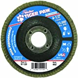 "Weiler 51120 Tiger Paw High Performance Abrasive Flap Disc, Type 29 Angled Style, Phenolic Backing, Zirconia Alumina, 4-1/2"" Diameter, 7/8"" Arbor, 60 Grit, 13000 RPM (Pack of 10)"