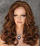 KeeWig Fashion Synthetic Lace Front Wig Long Curly Mix 3 Tone Blonde & Auburn ABLA 27/30/33