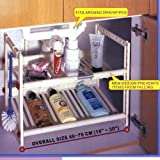 Under Sink Storage Shelf- Large Expandable, Goes Around Drainpipes. For Kitchen or Bathroom