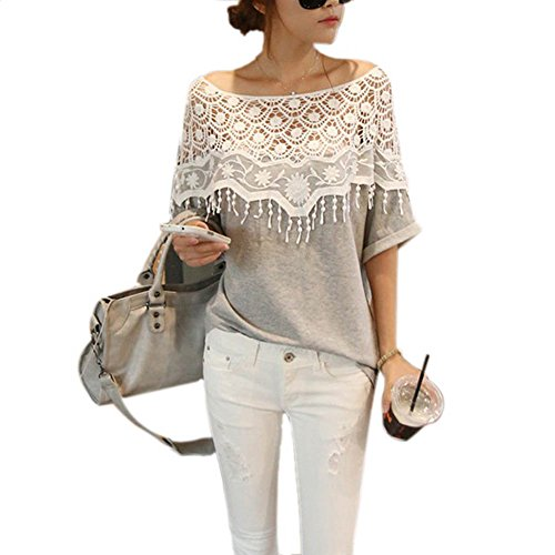 weixinbuy-lady-lace-cape-collar-cutout-crochet-batwing-sleeve-tops-blouse-m