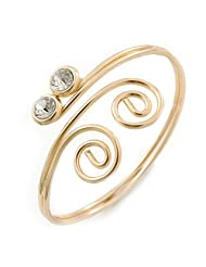 Gold Plated Small Swirls Crystal Upper Arm Bracelet - Adjustable