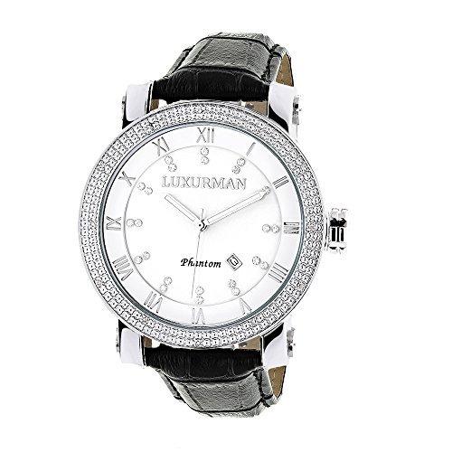 LUXURMAN 2142 - Reloj para hombres, correa de cuero color negro