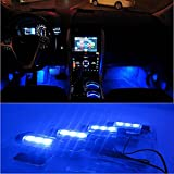 docooler 4*3 LED 12V Car Auto Interior Atmosphere Lights Decoration Lamp Blue