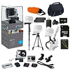 GoPro Hero3: Silver Edition Kit. 32GB Micro SD Card, Card Reader, Extra Battery, Floating Strap, Case & Monopod, Tripod & More