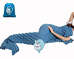 LAGHCAT Mermaid Tail Blanket Knit Crochet and Mermaid Blanket with Scale for Adult, All Seasons Sleeping Blankets (71\
