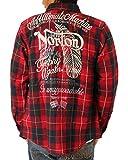 NORTON(ノートン) ネル チェック フェザー 刺繍 シャツ (レッド・サイズXXL)