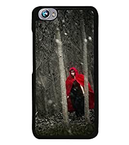 Fuson Premium 2D Back Case Cover Girl in mask With yellow Background Degined For Micromax Canvas Fire 4 A107