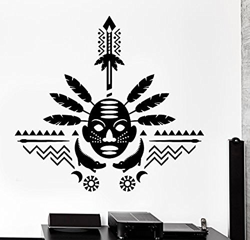 GGWW Wall Decal African Mask Symbol Ornament Tribal Mural Vinyl Decal (Z3320)