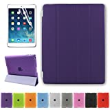 Besdata Ultra Thin Magnetic Smart Cover & Back Case For Apple iPad 2 / iPad 3 / iPad 4 + Screen Protector + Cleaning Cloth + Stylus - Purple - PT2605