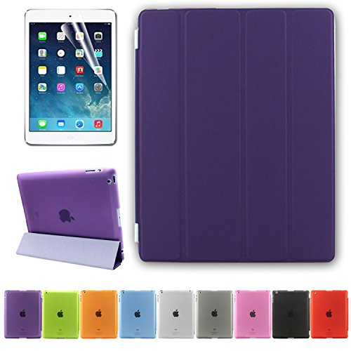 BESDATA Ultra Thin Magnetic Smart Cover (Wake/Sleep Function) & Translucent Back Case for Apple iPad 2 / iPad 3 / iPad 4 + Screen Protector + Cleaning Cloth + Stylus (Purple)