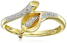 buy Yellow Gold Plated Sterling Silver Calla Lily Diamond Ring (0.06 Cttw, I-J Color, I2-3 Clarity), Size 7