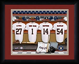 MLB Personalized Locker Room Print Black Frame Customized Houston Astros by You