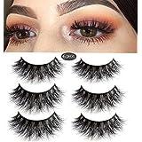 3D Mink Fake Eyelashes -100% Handmade 3D Mink Fur Eyelashes for Makeup with Natural Messy Volume Fluffy Long Hot Thick Fake Eyelashes& Reusable Wispy Lashes 3Pair Package (black-2) (Color: black-2, Tamaño: SD014)