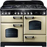 Rangemaster 79790 Classic Deluxe 110cm Dual Fuel Range Cooker In Cream And Chrome