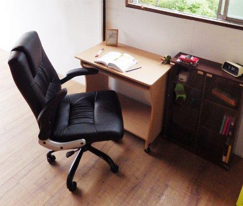 肘が上がる アームフリー ハイバックロッキングレザーオフィスチェア ブラック(黒) 省スペースPCチェア