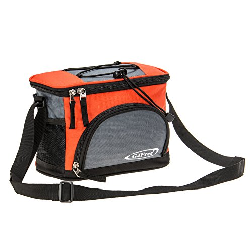 G4Free 5-6 Can Lunch Bag Soft Cooler Bag with Leakproof Foil Lining Keep Cool or Warm For Camping School Kids Outdoor Activities Family Picnics(Orange-grey) (Orange Cooler Bag compare prices)