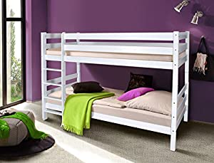 OLI - Solid Wood Bunk Bed 200x90cm - Solid Beech White Finish With Slats MADE OF HIGH QUALITY BEECH WOOD, MUCH STRONGER THAN PINE WOOD, LIKE MOST WOODEN BUNK BEDS OFFERED AT AMAZON FAST DELIVERY ORDER NOW