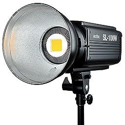 Godox SL-100W 100WS 5600K White Version LCD Panel LED Video Light Continuous Output Bowens Mount Studio Light + CEARI MicroFiber Cloth