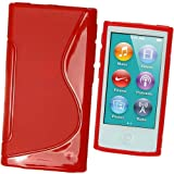 IGadgitz Dual Tone Red Durable Crystal Gel Skin (TPU) Case Cover for Apple iPod Nano 7th Generation 7G 16GB + Screen Protector