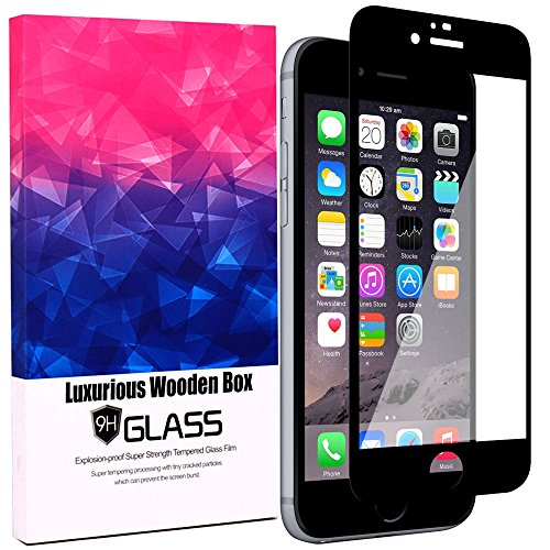 iPhone 7 Screen Protector,JDBRUIAN[Full Coverage Curved]Tempered Glass Screen Protector for Apple iPhone 7 4.7 inch with [9H Hardness][Anti-Scratch][Deluxe Wooden Gift Box][Jet Black]