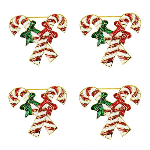 [4PCS Christmas Enamel Candy Cane Bowknot Xmas Suit Brooch Pin Women Men Jewelry Sweater Shawl Scarf] (Peppermint Butler Costume)