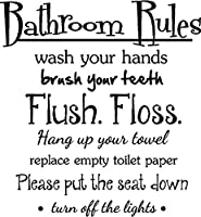 #2 Bathroom Rules wash your hands brush your teeth flush floss hang up your towel replace empty toiltet paper please put the seat down turn off the lights. cute inspirational home bathroom vinyl wall quotes decals sayings art lettering from Sticker Perfec