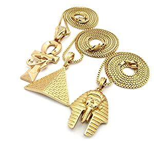 "Gold Tone Micro Pyramid, Pharaoh, Eye of Heru Ankh Cross Pendant 24"", 30"" Box Chain 3 Necklace Set"