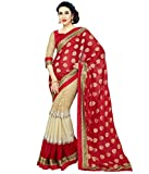 RND Creation Georgette Red color Embroidery Saree With Blouse Pices
