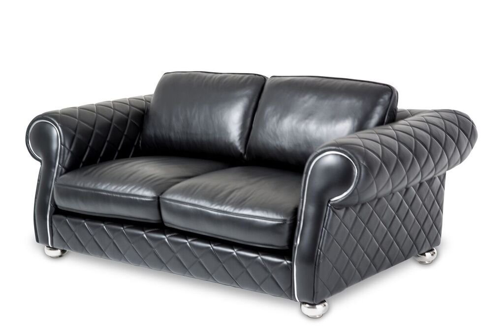 Michael Amini Lugano Leather Loveseat - Smooth Black/Stainless Steel