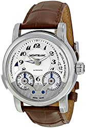 Montblanc Nicolas Rieussec Chronograph Silver Dial Brown Leather Men Watch 104273