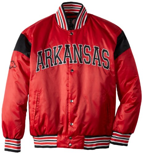 NCAA Men's Arkansas Razorbacks Big League Satin Jacket (Cardinal/Black, Medium) at Amazon.com
