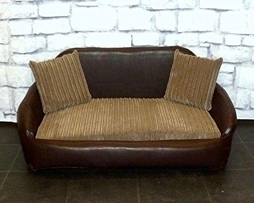 Zippy Small Sofa Dog Bed U2013 Brown Faux Leather + Mocha Chunky Cord U2013 Wipe U0026  Wash Clean