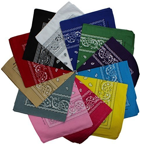 3er-6er-9er-oder-12-Pack-Bandanas-mit-original-Paisley-Muster-Farbe-nach-Wahl