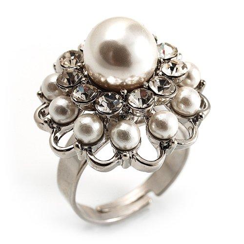 233b3e3ea70 Bague Forme Dôme Cristal Fausse Perle Blanc (Ton Argent) ~ Bijoux ...