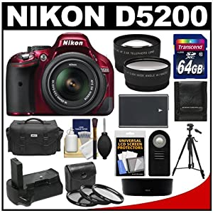 Nikon D5200 Digital SLR Camera & 18-55mm G VR DX AF-S Zoom Lens (Red) with 64GB Card + Case + Battery & Grip + Tripod + Tele/Wide Lenses + Remote + Filters Kit