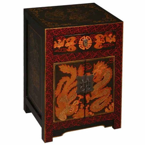 Cheap EXP Handmade Furniture – 23″ Red & Gold Storage Cabinet / End Table With Chinese Dragon & Phoenix (B0015H293I)