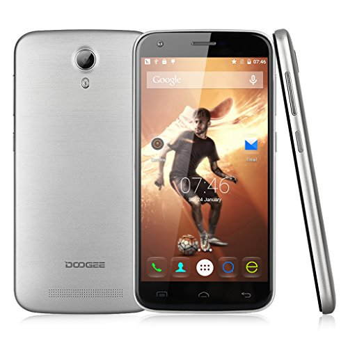 Doogee Valencia2 Y100 Pro – 4G LTE Smartphone Libre Android 5.1(Quad Core, 5.0″ Pantalla HD IPS, Ram 2GB, 16GB Rom, Cámara 8MP, Gps) Celular – Plateado
