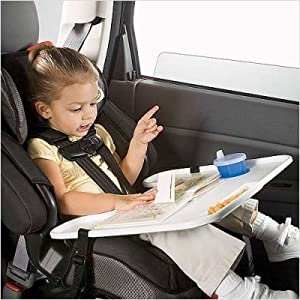 buy or borrow a lap desk that attaches to the car seat or booster