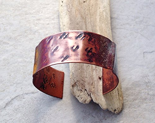 copper-cuff-bracelet-rustic-handmade-fold-formed-enameled-torch-flamed-cuff